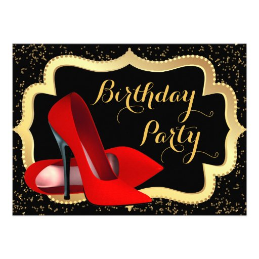 Red High Heels Birthday Party Invitation