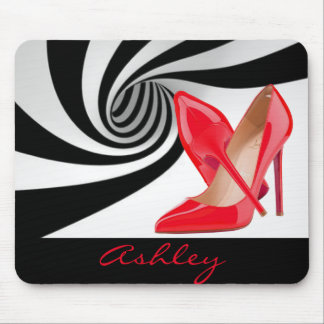 Red High Heels Black White Pattern Print Design Mouse Pad