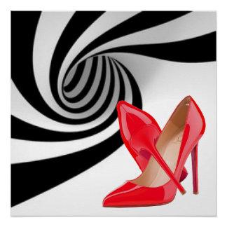 Red High Heels Black White Pattern Print Design Poster