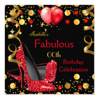 Red High Heels Gold Balloons Birthday Party Card