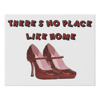 Red High Heels No Place Like Home Faux Canvas Print