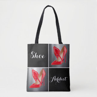 Red High Heels Shoe Addict Collage Tote Bag