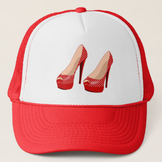 RED HIGH HEELS WITH POLKA DOTS Trucker Hat
