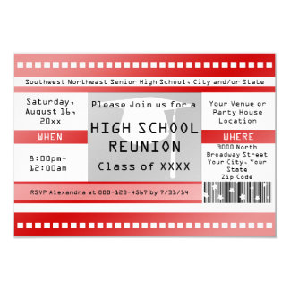 Red High School Class Reuinion Admission Ticket Card