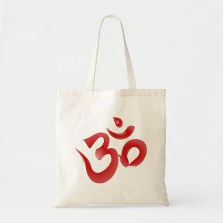 Red Hindu Symbol Om Aum Devanagari Calligraphy Tote Bag