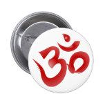 Red Hindu Symbol Om Aum Devanagari Calligraphy 2 Inch Round Button