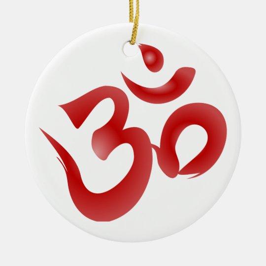 Red Hindu Symbol Om Aum Devanagari Calligraphy Ceramic Ornament
