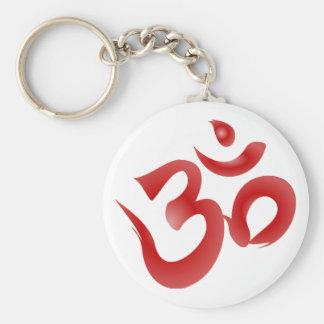 Red Hindu Symbol Om Aum Devanagari Calligraphy Keychain