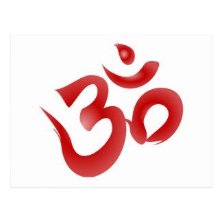 Red Hindu Symbol Om Aum Devanagari Calligraphy Postcards