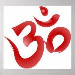 Red Hindu Symbol Om Aum Devanagari Calligraphy Print