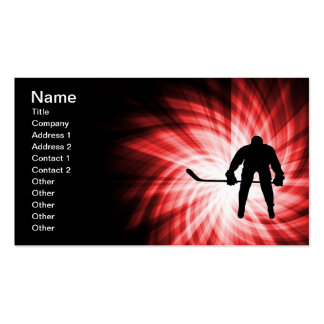 Red Hockey Double-Sided Standard Business Cards (Pack Of 100)