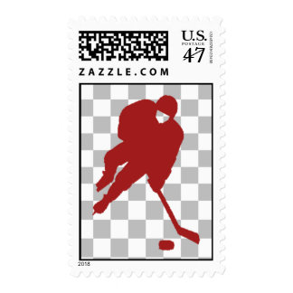 RED HOCKEY PLAYER POSTAGE