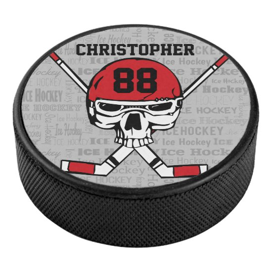 Red Hockey Skull Helmet and Sticks Typography Hockey Puck