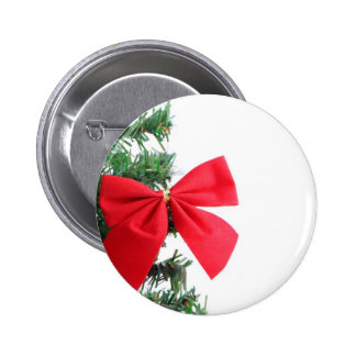 Red holiday bough on a fir tree branch buttons