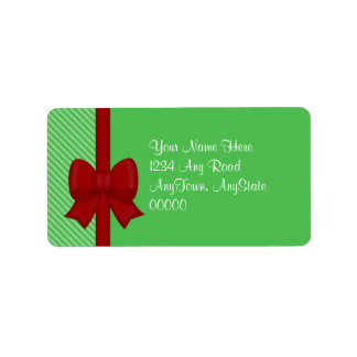 Red Holiday Bow Address Labels