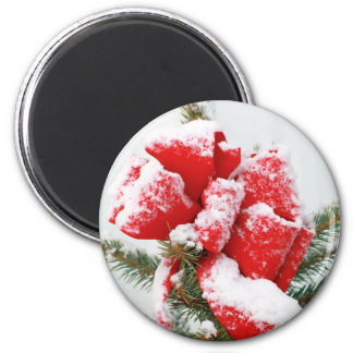 Red Holiday Bow Dusted With Snow | Christmas Xmas Magnet