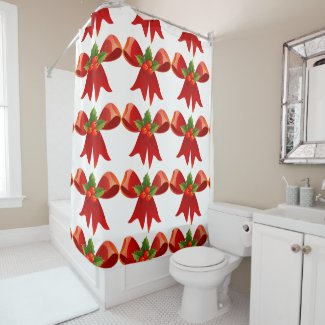 Red Holiday Bows and Holly Shower Curtain