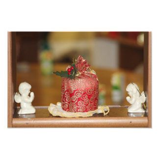 Red Holiday Candle with Angel's Photo Enlargement