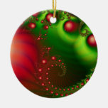 Red Holiday Christmas Digital Art Double-Sided Ceramic Round Christmas Ornament