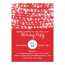 Red Holiday Christmas String Lights Invitation