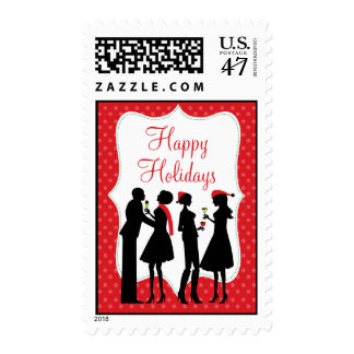 Red Holiday Cocktail Party Happy Holidays Postage Stamp