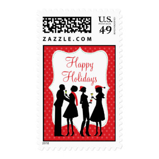 Red Holiday Cocktail Party Happy Holidays Stamps