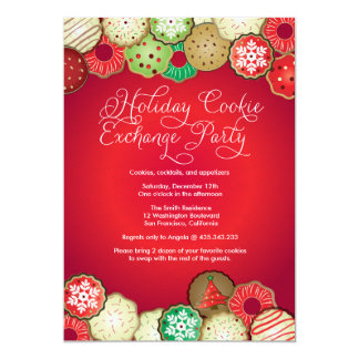 Red Holiday Cookie Exchange Party Invitation