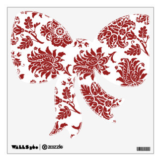 Red Holiday Damask Bow Wall Decal