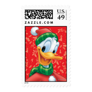 Red Holiday Donald Duck in Winter Clothes Postage