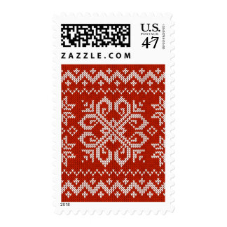 Red Holiday Embroidery Postage