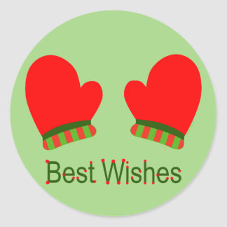 Red Holiday Mittens (Best Wishes) Classic Round Sticker