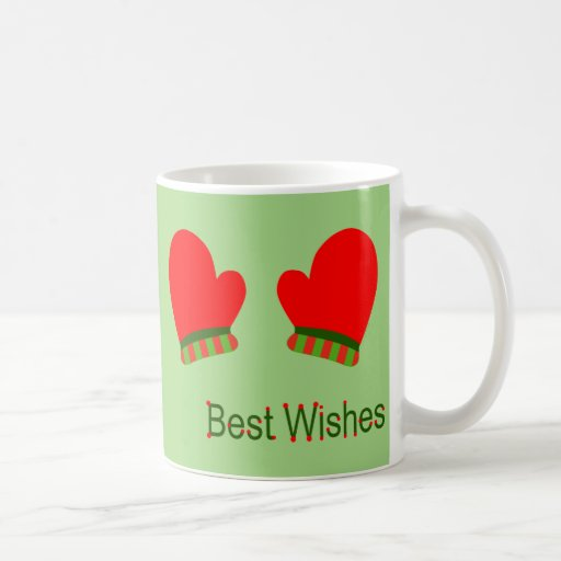 Red Holiday Mittens (Best Wishes) Coffee Mug