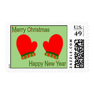 Red Holiday Mittens (Christmas/ New Year) Postage