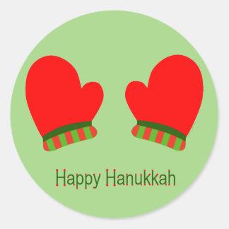 Red Holiday Mittens (Happy Hanukkah) Classic Round Sticker