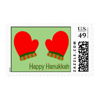 Red Holiday Mittens (Happy Hanukkah) Postage
