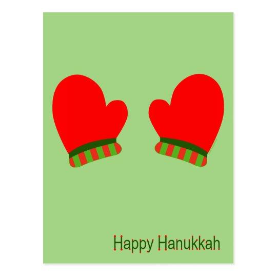 Red Holiday Mittens (Happy Hanukkah) Postcard