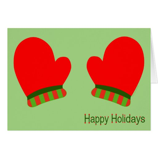 Red Holiday Mittens (Happy Holidays) Greeting Card