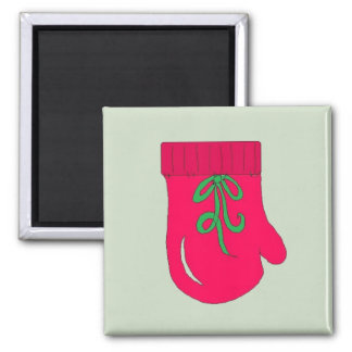 Red Holiday Mittens Fridge Magnet