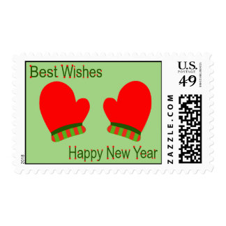 Red Holiday Mittens (New Year Best Wishes) Stamp