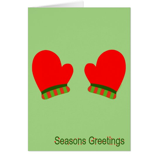 Red Holiday Mittens (Seasons Greetings) Card