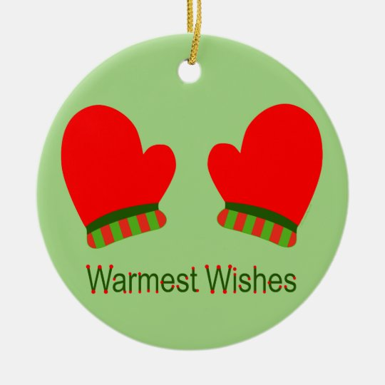 Red Holiday Mittens (Warmest Wishes) Ceramic Ornament