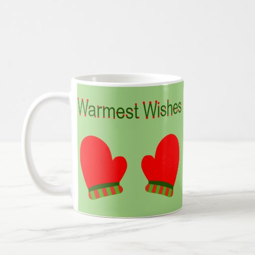 Red Holiday Mittens (Warmest Wishes) Classic White Coffee Mug