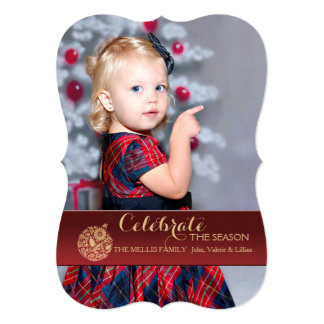 Red Holiday Ornament Photo Holiday Card