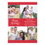 Red holiday photocard invitations