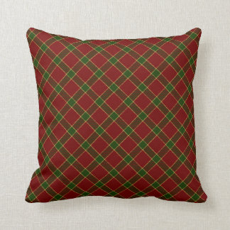Red Holiday Plaid Throw Pillow
