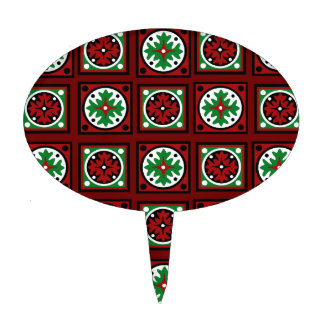 Red Holiday Quilt Cake Topper