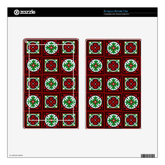 Red Holiday Quilt Kindle Fire Decal