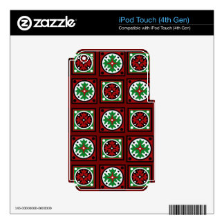 Red Holiday Quilt Skins For iPod Touch 4G