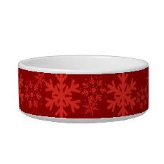 Red Holiday Snowflake Pet Bowl at Zazzle