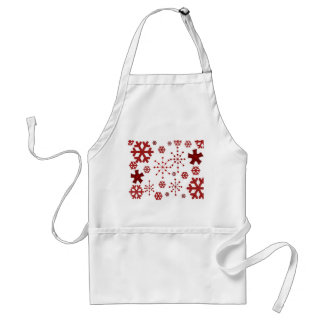 Red Holiday Snowflakes Adult Apron